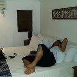 Very big bed. Picture taken from door.