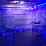 Throne and DJ booth made of ice