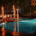 Pool at night at the hotel