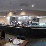 The buffet breakfast area