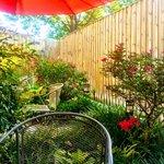 The back garden patio - a beautiful urban oasis!