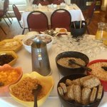 Breakfast buffet table. Cooked breakfast also available