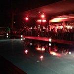 Rooftop bar & pool at night