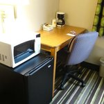 Desk and microwave