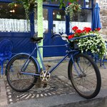 The blue Bicycle with potted plants