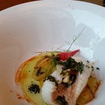 Scorpion fish with potatoes,chilli and herbs