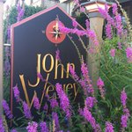 John Wesley sign in front of the B&B