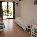 Гостиная в апартаментах с 1 спальней (с большой дверью на балкон)