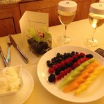 A lovely fruit presentation with Champagne!