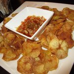 Potato chips with salsa sauce