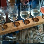 Here are the five wines I chose arranged on a clever wooden thing.
