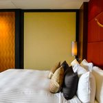 View into our Club Room, luxury bedding
