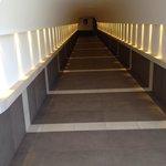 Corridor connecting underground level to hotel's elevator