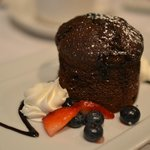 Chocolate Lava Cake with honey-roasted berries...most excellent!