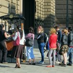 Lining up for coffee at the Ceska tram stop location