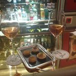 wine and nibbles at the bar