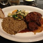Osso Buco with Mushroom Risotto and fresh veggies