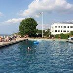 Stor pool med solsängar