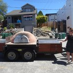Victoria showing us the Veraci Pizza oven on wheels.