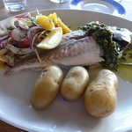 Whole baked bream with new potatoes and a grapefruit and blood orange salad