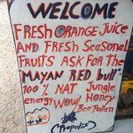 Fresh fruit Juice stand outside of the ticket booth.