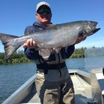 Catching a nice King the Alagnak River on a fly rod with one of Tom's special fly's!
