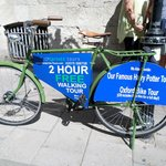 Two daily tours meet at the blue bicycle across from Fudge Kitchen