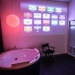 The projector wall and Jacuzzi in iMovie