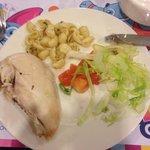 Chicken, Italian warm pasta and salad