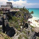 Mayan pyramid and beach