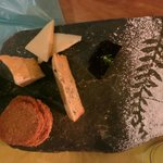 Wonderful cheeseboard with home-made biscuits and quince paste,by Lizzie