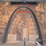 Mural of the builders of the Arch