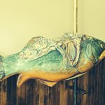 Fanciful fish to ride, also painted by Nancy Bouchard
