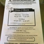 Menu with summer hours