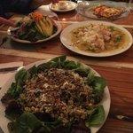 esmeralda salad, green salad and daily special green curry shrimp