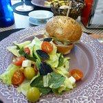 Delicious chicken burger and salad