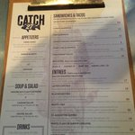 Catch 27 menu. All fresh and the fish changes everyday!