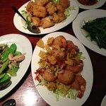 Chicken in Snow pea, Salt & pepper Prawns and Tofu, Kangkong vegetable in garlic