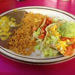 Chicken tostada plate with rice and beans...just the right size for dinner.