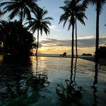 Sunset fro the beach villa with pool