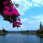 Flowers over the road bridge at The River Ness, Inverness
