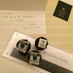 Thank You note from the hotel from uploading photos on Instagram #WaldorfRAK