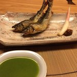 Delicious and authentic grilled Ayu (river fish).