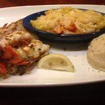 Lobster feast main tail lobster and lobster Mac n cheese wish I was eating this now