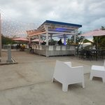 Outside bar and sitting area with a view of Mayagüez bay.