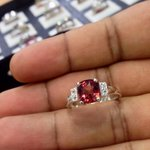 Garnet 925 ring rhodium plated