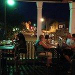 Outdoor seating looking at the Santa Fe main square