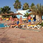 jumping over the sunbeds