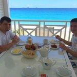 Enjoying breakfast on the terrace