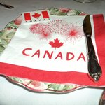 Delicious breakfast with Canada Day decorations